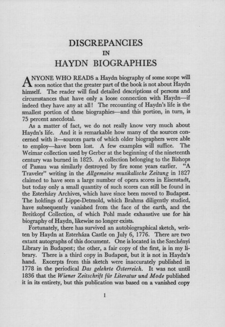 Discrepancies in Haydn biographies a lecture delivered in the Whittall Pavilion of the Library of Congress, May 18, 1962