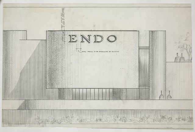 [Endo Laboratories, Garden City, Long Island, New York. Façade detail with logo. Elevation]