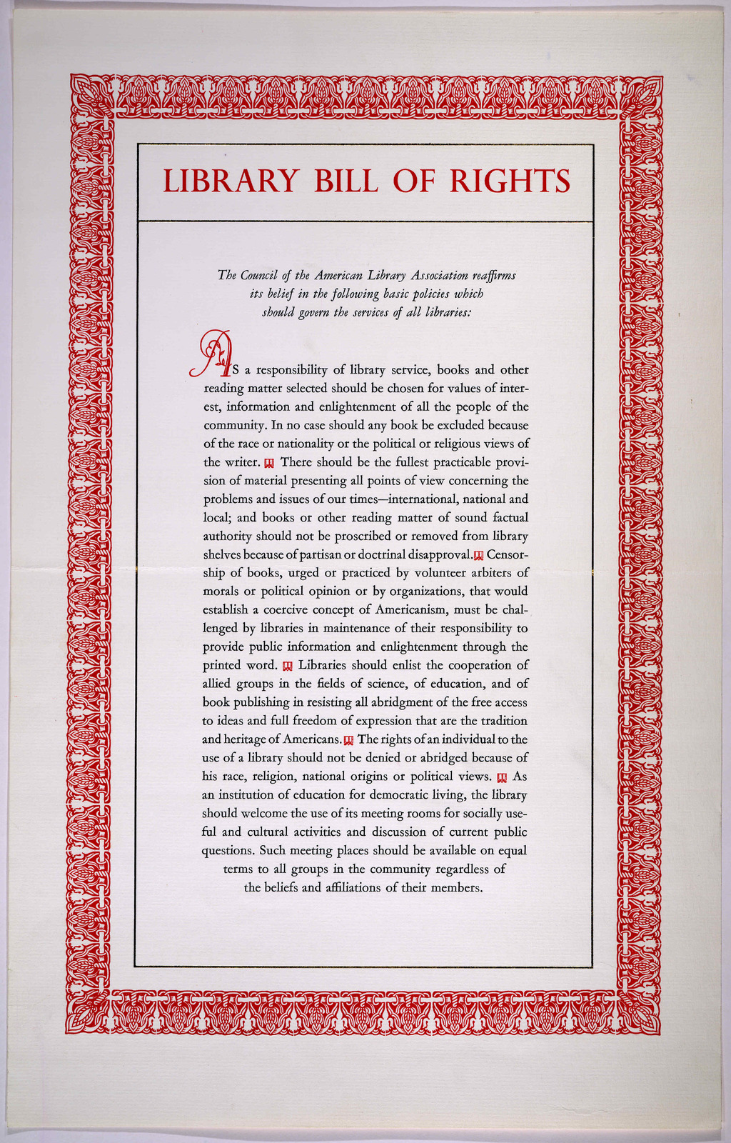 Library bill of rights. [Chicago, Printed by the Norman Press, 1962].