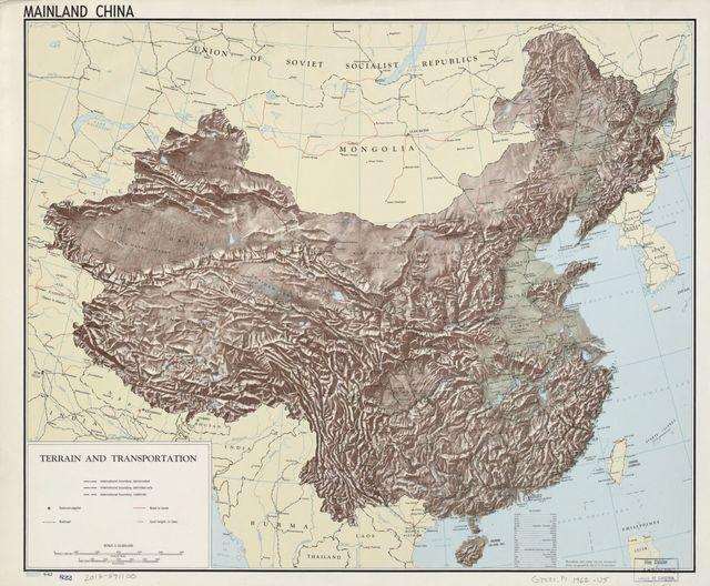 Mainland China, terrain and transportation.