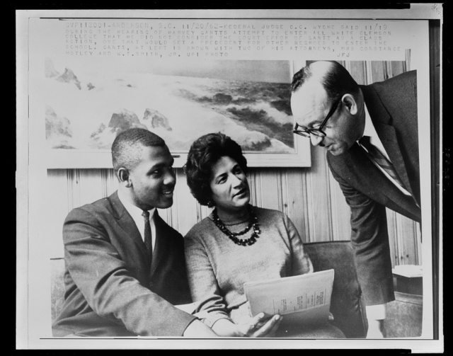 [Mrs. Constance Motley with Harvey Gantts and W.T. Smith, Jr.]