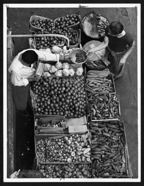 [Overhead view of a pushcart produce stand on Belmont Avenue, Brooklyn, New York]