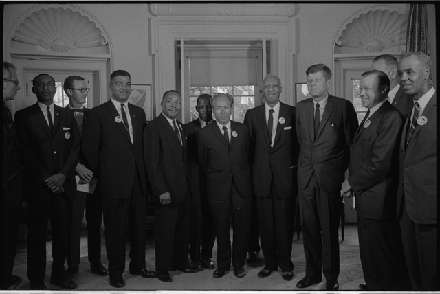 [Civil rights leaders meet with President John F. Kennedy in the oval office of the White House after the March on Washington, D.C.]