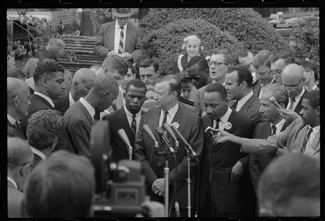 [Civil rights leaders talk with reporters after meeting with President John F. Kennedy after the March on Washington, D.C.]