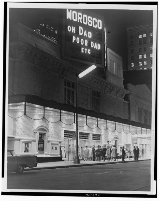 [Exterior view of front of the Morosco Theatre at night] / World Telegram & Sun photo by Ed Ford.