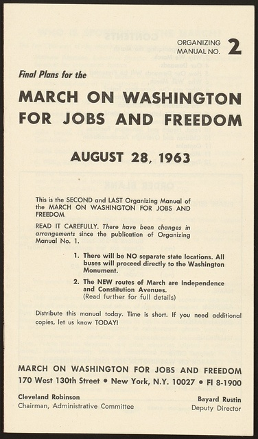 Final plans for the march on Washington for jobs and freedom, August 28, 1963