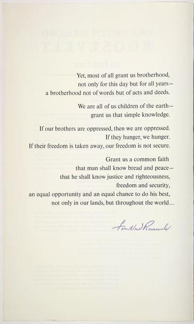 Franklin Delano Roosevelt on freedom. [New York, Amalgamated Lithographers of America. c1963].