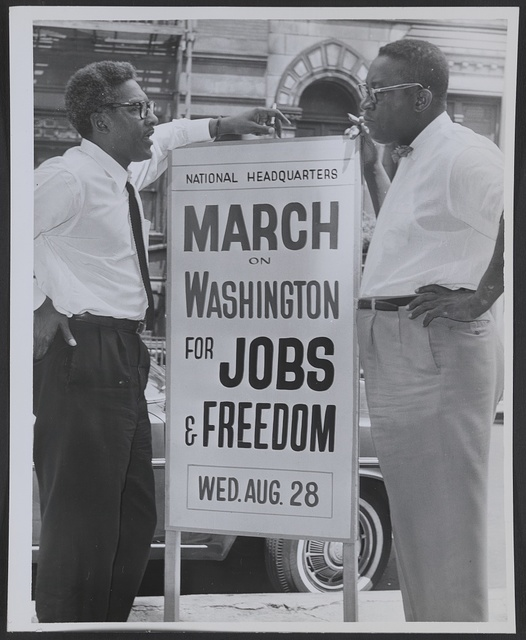 In front of 170 W 130 St., March on Washington, l t[o] r Bayard Rustin, Deputy Director, Cleveland Robinson, Chairman of Administrative Committee / World Telegram & Sun photo by O. Fernandez.