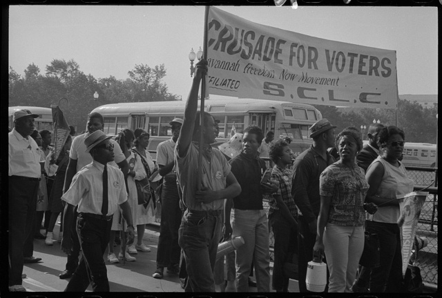 [Marchers with SCLC sign for the Savannah Freedom Now Movement, during the March on Washington, 1963]