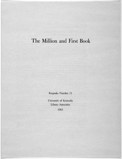 The million and first book. [1963].