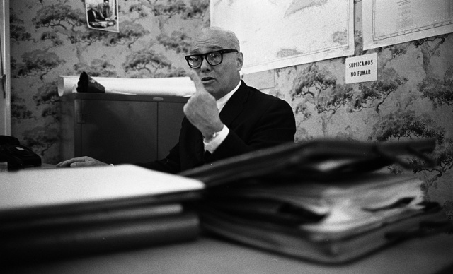 [Tony Varona, Cuban lawyer, politician and member of the anti-Castro Cuban Revolutionary Council, seated at desk at the Council headquarters, Miami, Florida]