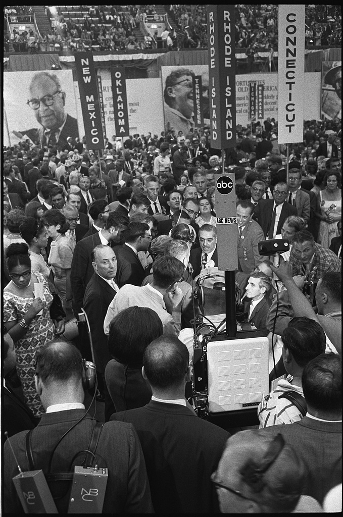 [ABC television crew on the floor at the 1964 Democratic National Convention, Atlantic City, New Jersey; man, possibly from the Arkansas delegation (?) being interviewed] / WKL.