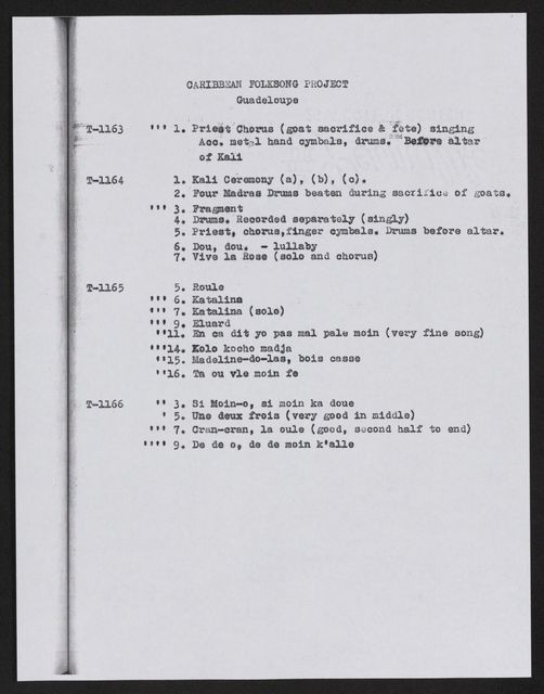 Alan Lomax Collection, Manuscripts, Caribbean Folksong Project, 1964
