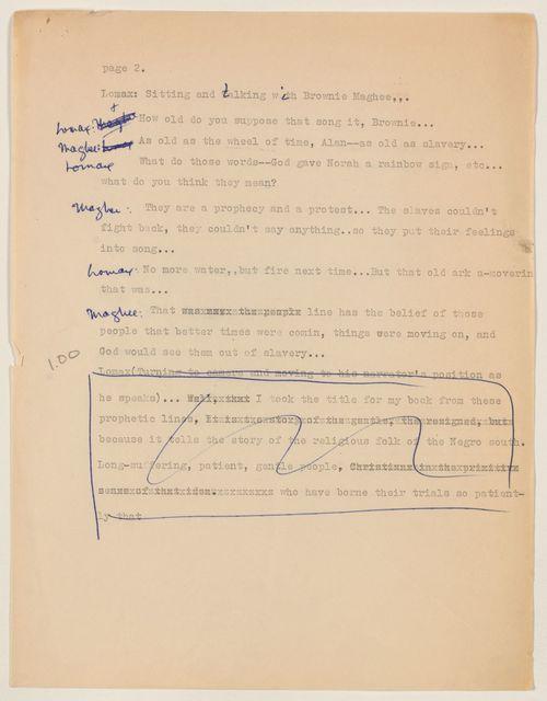 Alan Lomax Collection, Manuscripts, NBC