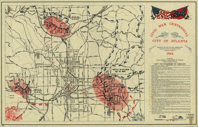 Civil War Centennial, city of Atlanta : showing the area of the three major engagements and deployment of Union and Confederate forces during the summer of 1864 /