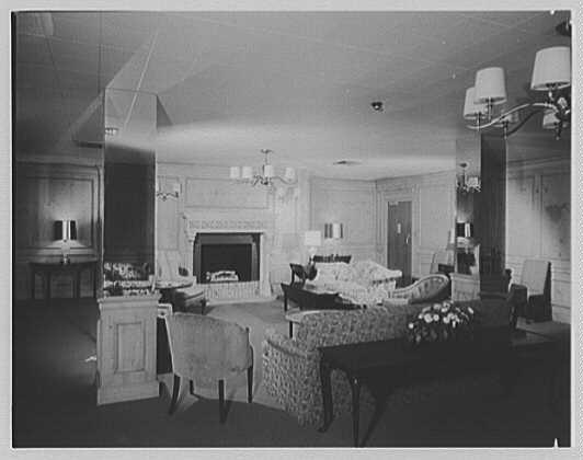 C.W. Post College, Marjorie Post Hall, Long Island University, Greenvale, Long Island. Lounge, to fireplace