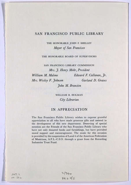 Dedication; Department of Rare Books & Special Collections; San Francisco Public Library; October 1, 1964 ... [San Francisco, 1964].