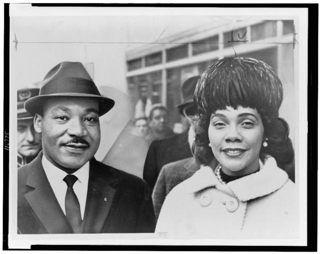 [Dr. & Mrs. Martin Luther King Jr., head-and-shoulders portrait, facing front] / World Telegram & Sun photo by Herman Hiller.