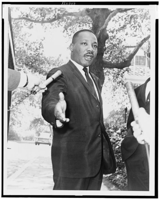 Gracie Mansion, Rev. Martin Luther King press conference / World Telegram & Sun photo by Dick DeMarsico.