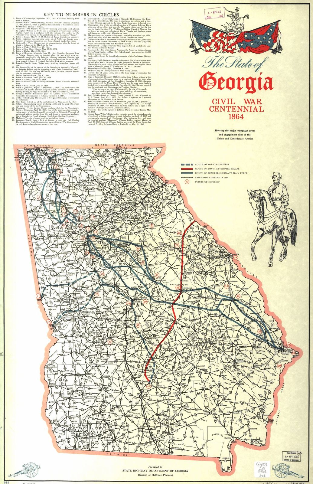 The State of Georgia, Civil War Centennial, 1864 : showing the major on