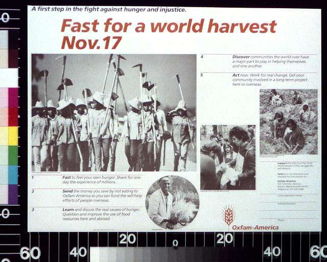 A first step in the fight against hunger and injustice : fast for a world harvest, Nov. 17