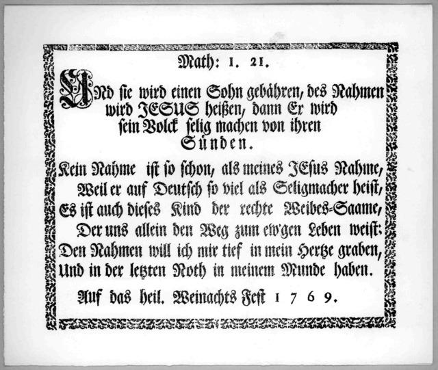 A literal translation of the Ephrata Christmas greeting [of 1769]; Math: I. 21. Ephrata, Pa., Restored Press of the Brotherhood of the Cloister, 1965.