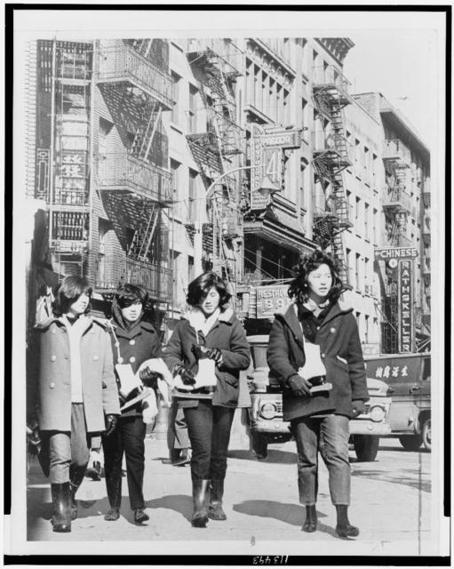 Americanized Chinese gals on Mott St. / World Telegram & Sun photo by Ed Ford.