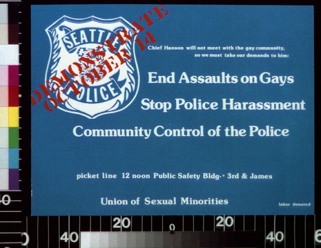 Chief Hanson will not meet with the gay community, so we must take our demands to him -- end assaults on gays ...