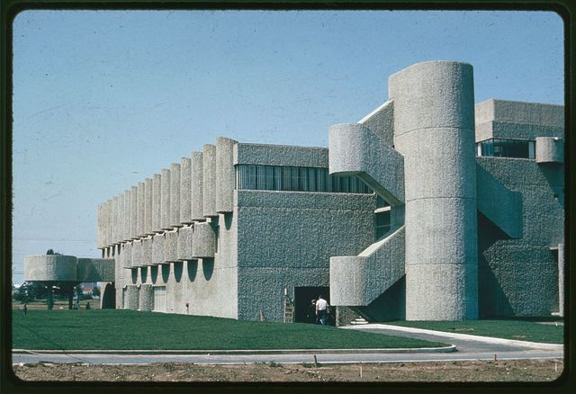 [Endo Laboratories, Garden City, Long Island, New York. Façade with stair turret]