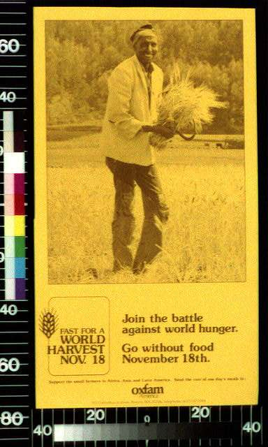 Fast for a world harvest, Nov. 18. Join the battle against world hunger : Go without food Novermber 18th