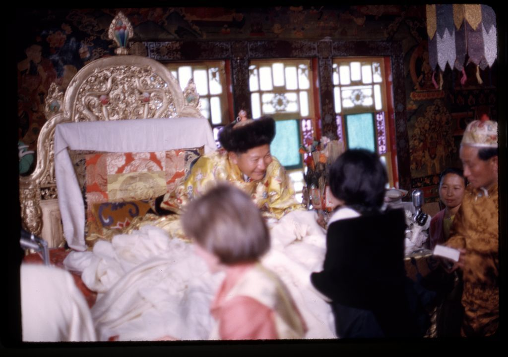 [King Palden Thondup Namgyal accepting scarves, including one scarf from Alice Kandell, at his coronation, Gangtok, Sikkim]