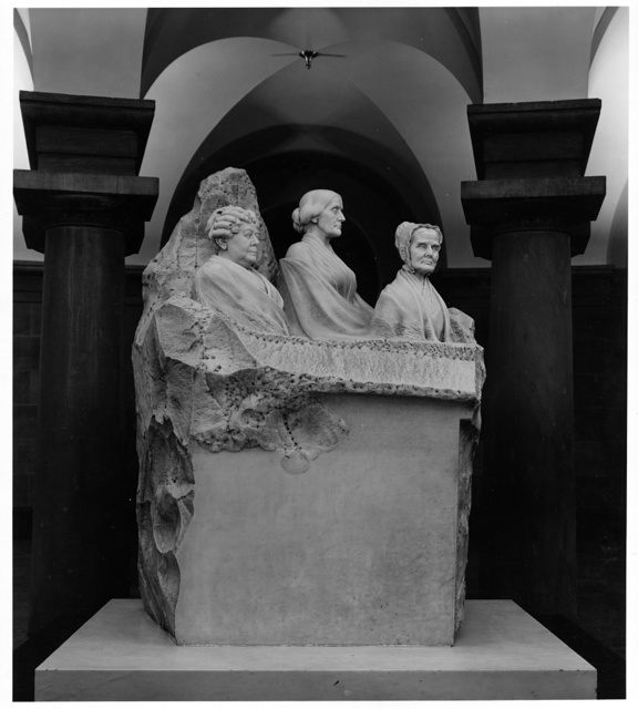 [Marble statue of three suffragists by Adelaide Johnson in the Capitol crypt, Washington, D.C.]