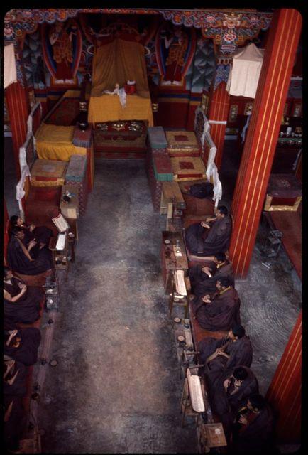 [Monks praying inside Rumtek Monastery, Sikkim]