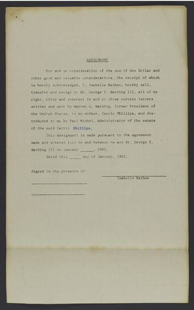 Phillips / Mathée Collection: Legal agreement between Isabelle Mathée and George T. Harding, 1965