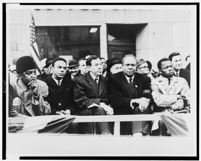 [Seated left to right: Bayard Rustin, Andrew Young, Rep. William Fitts Ryan, James Farmer, and John Lewis] / World Telegram & Sun photo by Stanley Wolfson.