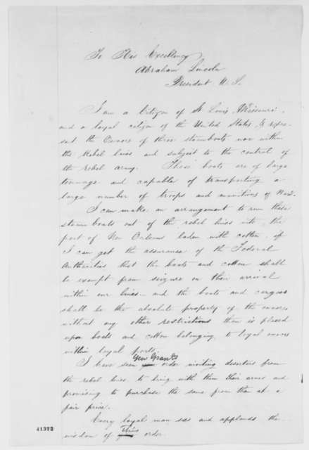 Sidney S. Jerman to Abraham Lincoln, Friday, March 19, 1965  (Cotton permit)