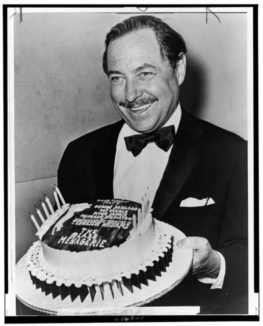 "Tennessee Williams with ""birthday"" cake for the 20th anniversary of ""The Glass Menagerie"" opening / World Telegram & Sun photo by O. Fernandez."