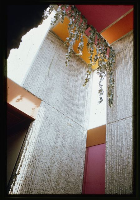 [Christian Science Student Center, University of Illinois, Urbana, Illinois. Assembly room interior, looking up toward plantings and color panels]