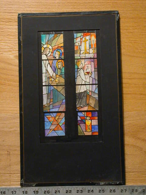 [Design drawing for stained glass window showing Supper at Emmaus and Ministry of an Acolyte for St. James Episcopal Church in Grosse Ile, Michigan]