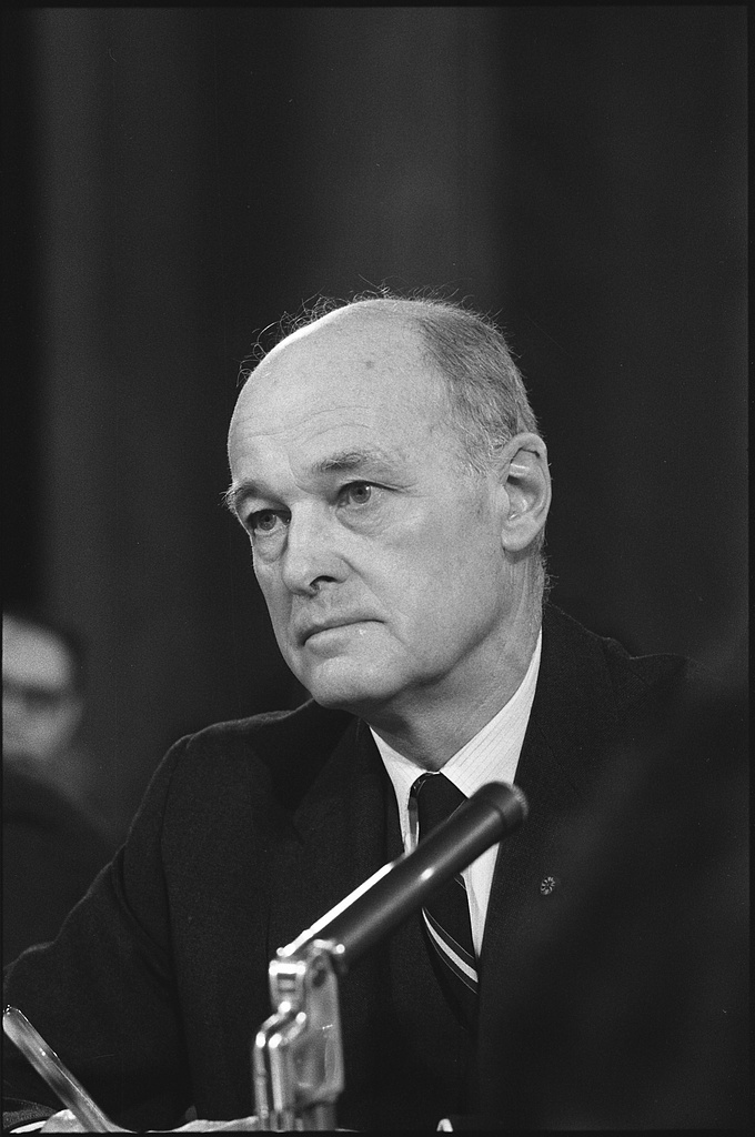 [George Kennan, former ambassador to the Soviet Union, head-and-shoulders portrait, facing left, testifying in front of the U.S. Senate Foreign Relations Committee] / WKL.