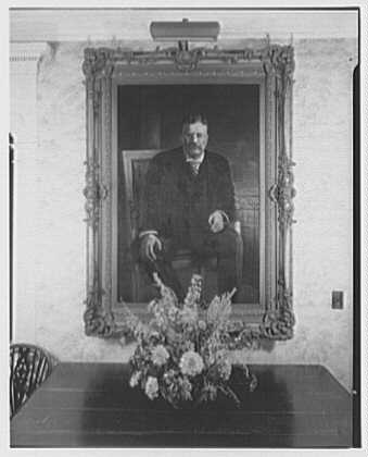 Mrs. Richard Derby (Ethel Roosevelt), residence on Lexington Ave., Oyster Bay. Portrait of Theodore Roosevelt by Burroughs Torrey
