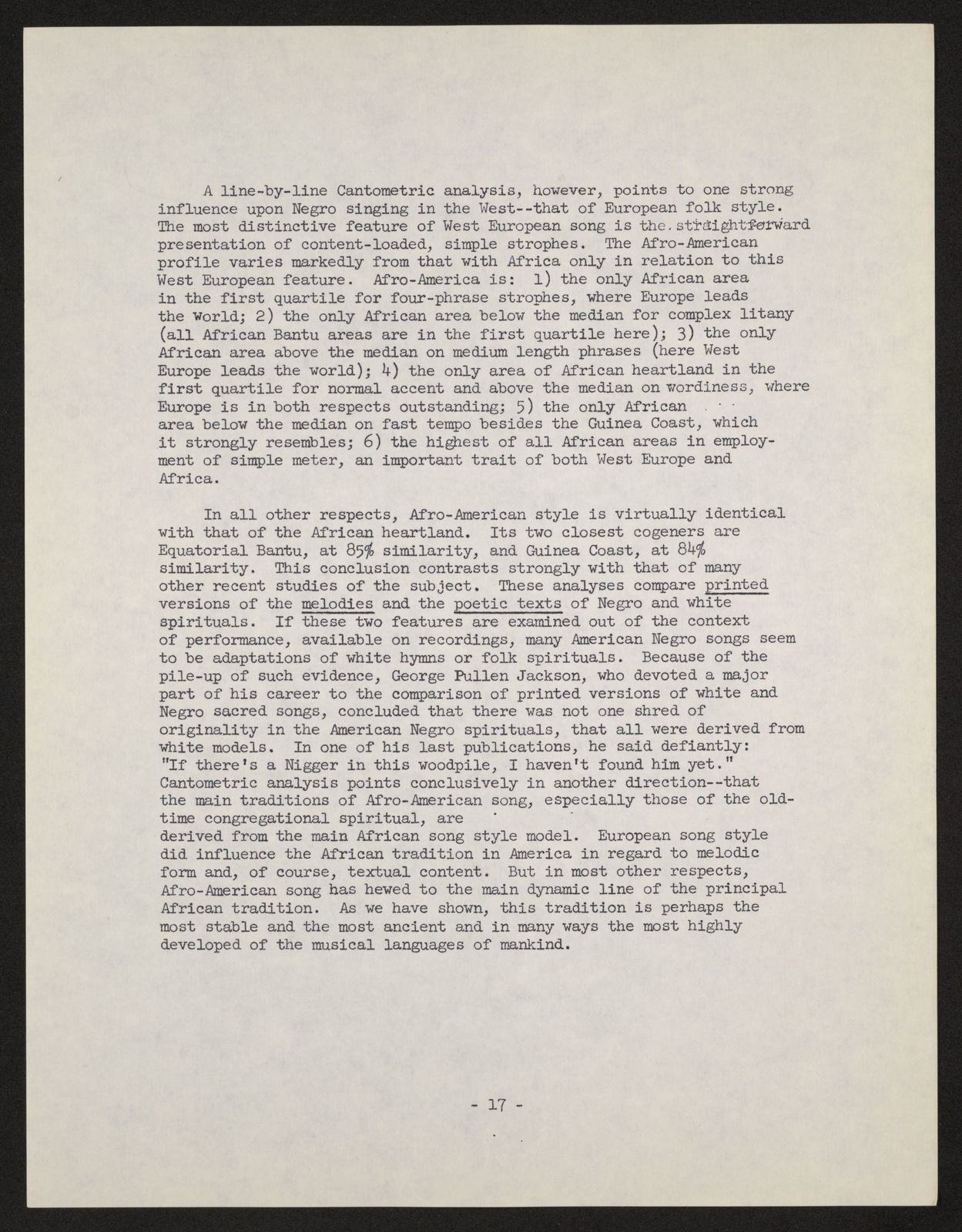 Alan Lomax Collection, Manuscripts, The Homogeneity of African-New World Negro Musical Style, 1967