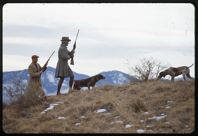 [Ann Bonfoey Taylor, man, and two dogs, hunting, Colorado]