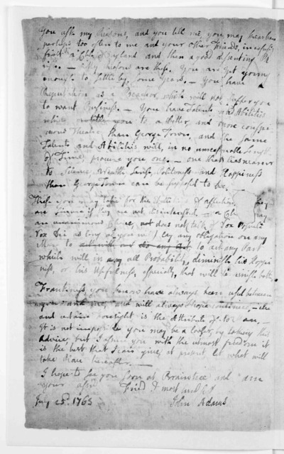 John Adams … letter of advice to his cousin Zabdiel … 1763. [Worcester, Mass.] Massachusetts Historical Society, c 1967]