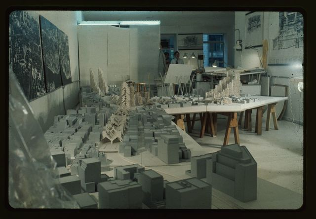[Lower Manhattan Expressway, New York City. Model under construction in office]