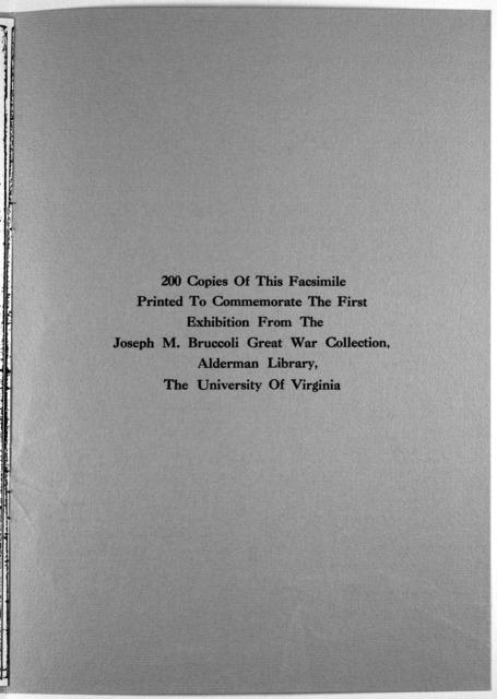 11 November 1918 11 November 1968. [Charlottesville, Univ. of Virginia, 1968].