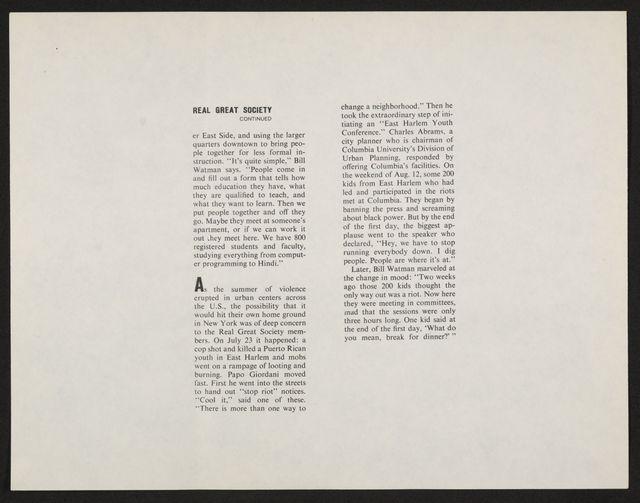 Alan Lomax Collection, Manuscripts, Black Identity Project, 1968-1970, administrative, 1968