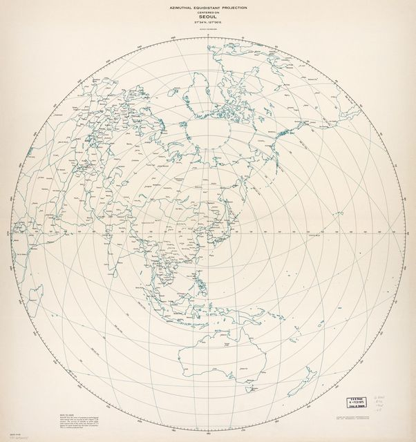 Azimuthal equidistant projection centered on Seoul, 37⁰34ʹN., 127⁰00ʹE. 10-68.
