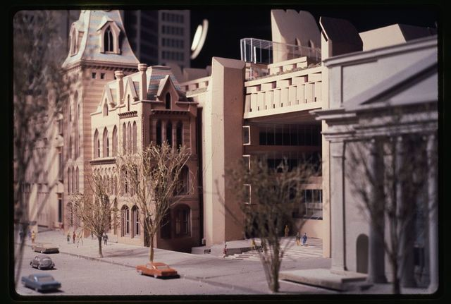 [New Haven Government Center, New Haven, Connecticut. Model A. Façades facing New Haven Green. Street level view]