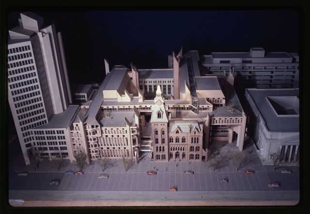 [New Haven Government Center, New Haven, Connecticut. Model A. Façades facing New Haven Green. Model from above]